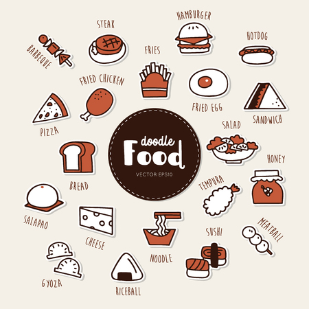 food hand drawn doodle icons set.