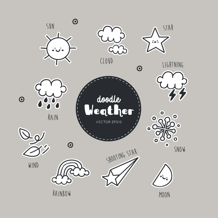 Vector set of weather icons. Doodle. Simple illustration. Vector illustration. EPS 10.
