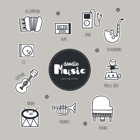set of Music hand drawn doodle icons.