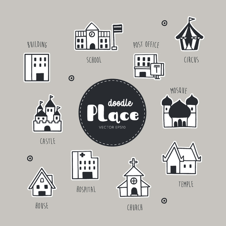 Vector set with Place hand drawn doodles. 일러스트