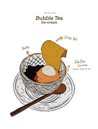 Bubble tea Ice-cream or Cha-Thai Ice-cream, Hand draw sketch vector.