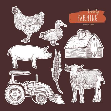 Boerderij set. Hand getekende illustratie van koe, schuur, kip, graan, tractor en eend.