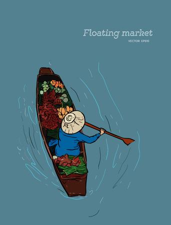 Barco en un mercado flotante en Tailandia - dibujo a mano ilustración vectorial Ilustración de vector