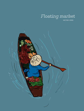 Boat in a floating market in Thailand - hand draw vector illustration Çizim
