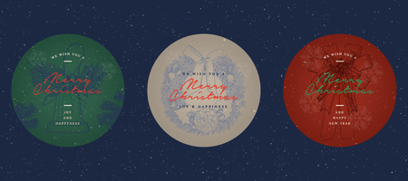 Christmas Labels, Banners and Tags Set - in vector, hand draw sketch style.