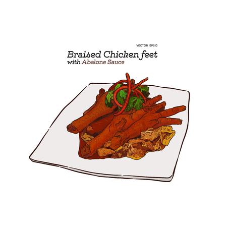 Pieds de poulet braisés avec sauce aux ormeaux, vecteur de croquis de dessin à la main de cuisine chinoise.