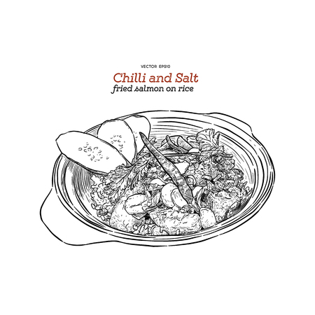 Chilli and salt fried salmon on rice, hand draw sketch vector. 向量圖像