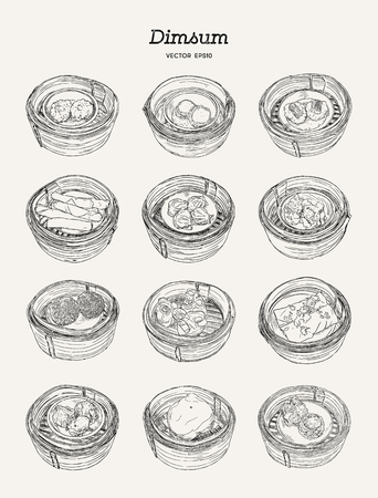 Dim sum in bamboo basket set. Vector illustration of Chinese cuisine.