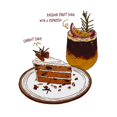 Carrot cake and Passion fruit soda with Espresso coffee, Hand draw sketch vector. Set menu cake with drink for cafe