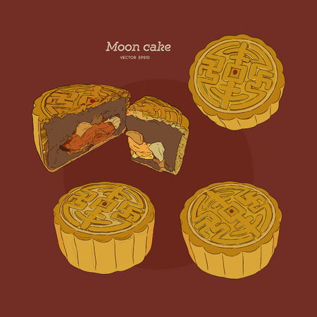 Chinese Cuisine, Moon Cake or Chinese Round Pastry Filled with Red Bean or Lotus Seed Paste for Chinese Mid-Autumn Festival. One of Most Popular Dessert in China.