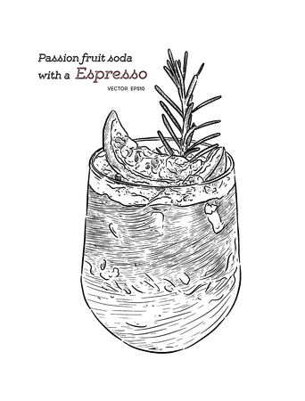 Passion fruit soda with Espresso shot, hand draw sketch vector for cafe. Special menu 向量圖像