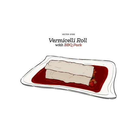 Vermicelli Roll with BBQ pork, hand draw sketch vector.