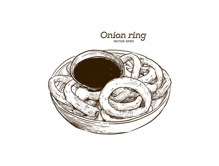 onion rings, graphic hand drawn illustration isolated on white background