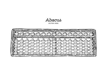 Boulier en bois d'illustration vectorielle avec des perles. Cadre de comptage traditionnel, style japonais. Vecteur de croquis de tirage au sort à la main.