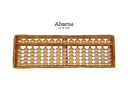 Boulier en bois d'illustration vectorielle avec des perles. Cadre de comptage traditionnel, style japonais. Vecteur de croquis de tirage au sort à la main. Vecteurs