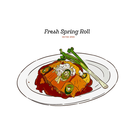 fresh spring rolls with vegetables, Topped with a sweet sauce, egg and crab meat. hand draw sketch vector