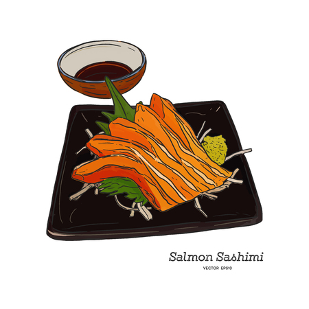 Salmon sashimi, raw fish in traditional Japanese style . Hand draw sketch vector.