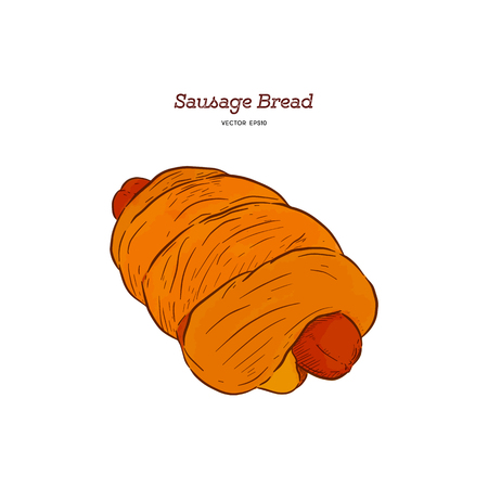 roll with sausage , hand draw sketch vector.  イラスト・ベクター素材