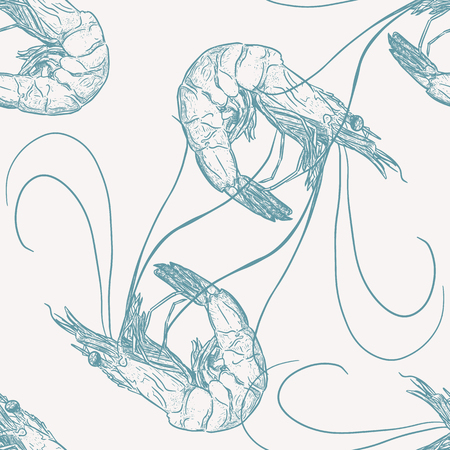 Hand draw of shrimp, seamless pattern vector.