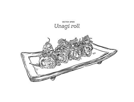 Japanese traditional food, Unagi roll sushi. Hand draw sketch vector.