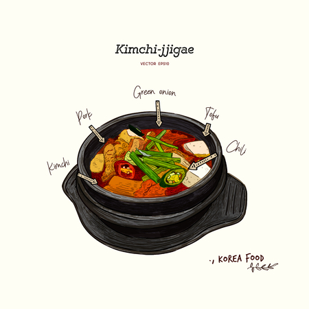 korean traditional food kimchi stew, kimchi jjigae, hand draw sketch vector. Vettoriali