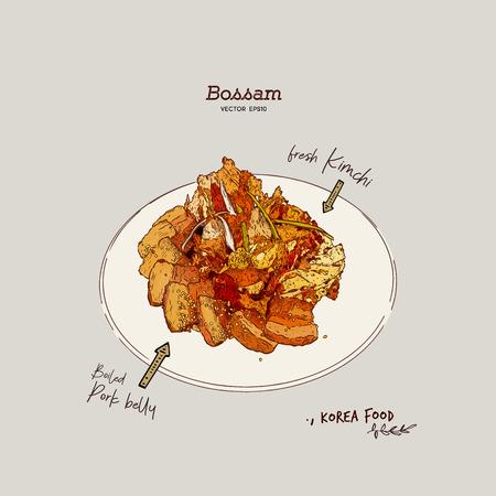 Bossam, Tredition korea food. Boiled pork with fresh kimchi.Hand draw sketch vector.