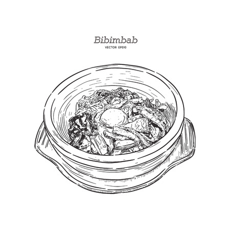 Bibimbab, hand draw sketch vector. Bibimbab is korean style of Mixed vegetables and beef rice in stone bowl.