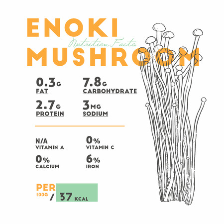 Nutrition facts of enoki mushroom, Hand draw sketch vector. Banque d'images - 120408632