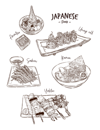 Set of Japanese food, Hand draw sketch vector. Unagi roll, Ramen, Salmon Sashimi, Yakitori and Anmitsu soft serve. Illustration