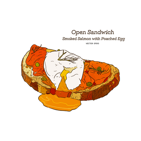 Smoke salmon with poached egg sandwich, open face sandwich. hand draw sketch vector. 矢量图像