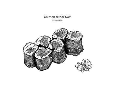 salmon sushi roll, hand draw sketch vector.