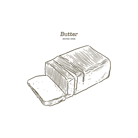 Butter, hand draw sketch vector.
