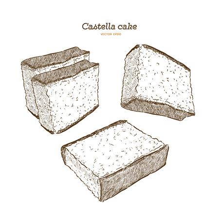 Gâteau éponge japonais - castella. Vecteur de croquis de tirage à la main. Vecteurs