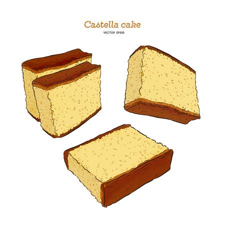 Gâteau éponge japonais - castella. Vecteur de croquis de tirage à la main.