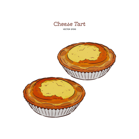 Baked mini  cheese tart, hand draw sketch vector.