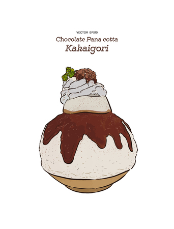 Closeup of Chocolate Kakigori - Japanese shaved ice dessert flavored (bingsu) with panna cotta and cream on top. Hand draw sketch vector.