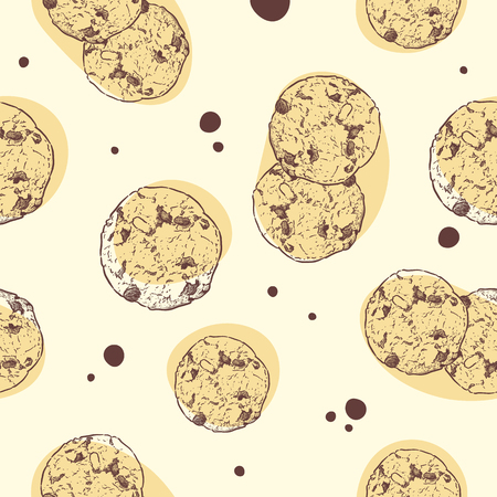 Chocolate chip cookie, Seamless pattern vector. hand draw sketch vector.