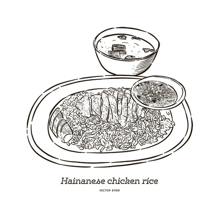 Hainan chicken rice with sauce and soup, hand draw sketch vector. Ilustrace