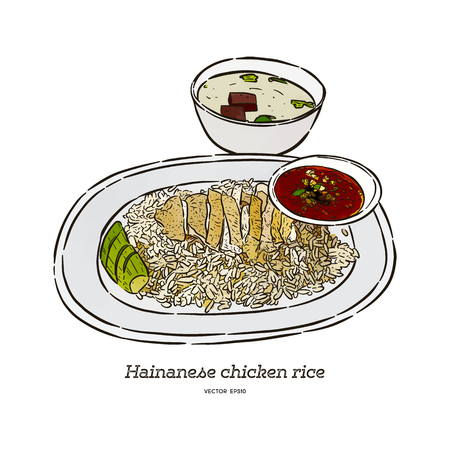 Hainan chicken rice with sauce and soup, hand draw sketch vector. Illustration