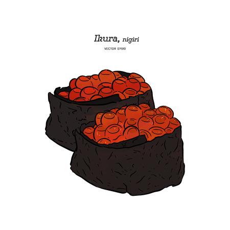 Ikura nigiri, hand draw sketch vector. Japanese food