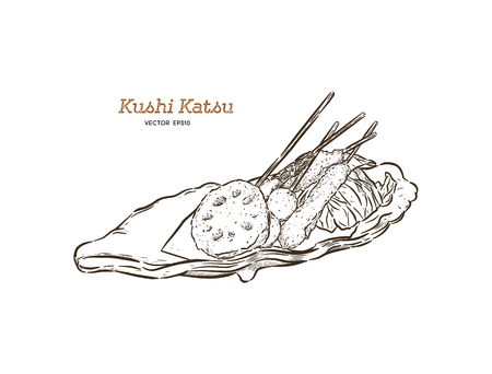 Kushi-katsu, deep fried skewered morsels. Kushi-katsu are made by skewering meat, fish, or vegetables that is first coated in batter and then deep fried. This is Osaka's very own fast food. Hand draw sketch vector. Ilustrace