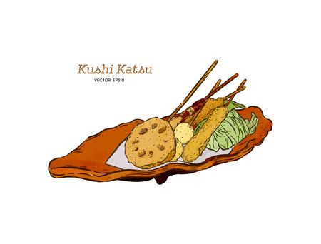 Kushi-katsu, bocconcini fritti allo spiedo. I kushi-katsu sono fatti infilzando carne, pesce o verdure che vengono prima ricoperte di pastella e poi fritte. Questo è il fast food di Osaka. Vettore di schizzo di tiraggio della mano.