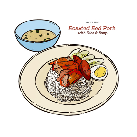 Roasted red pork on rice with soup, hand draw sketch vector. Thai food