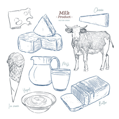 Dairy products collection. Cow, milk products, cheese , butter, sour cream, curd, yogurt. Farm foods. Farm landscape with cow. Vector Hand drawn illustration. Isolated objects on white - Vector Ilustrace