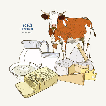 Dairy products collection. Cow, milk products, cheese , butter, sour cream, curd, yogurt. Farm foods. Farm landscape with cow. Vector Hand drawn illustration. Isolated objects on white - Vector Illustration
