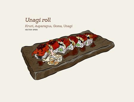 Unagi roll -Kruri,Asparagus, Goma and unagi. hand draw sketch vector.