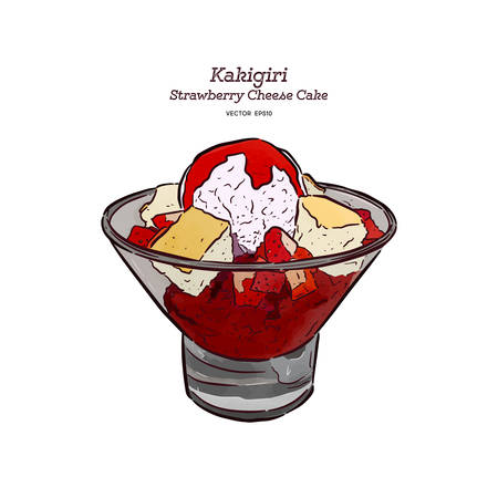 Strawberry Shave ice or kakigori with chesse cake and ice-cream, hand draw sketch vector. 矢量图像