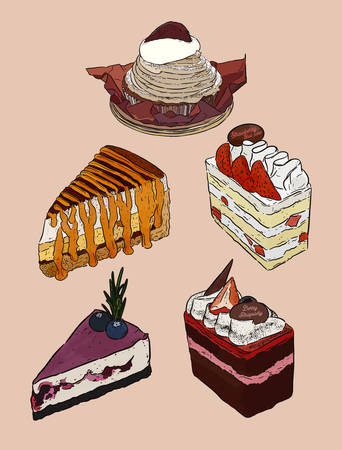 Set of cake,mont blanc, banoffee, strawbeey fresh cream layer cake, blueberry cheese cake and chocolate berry cake. Hand draw sketch vector. Illustration