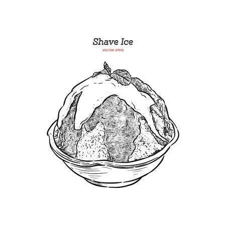 Strawberry Shave ice o kakigori, vettore di schizzo di tiraggio della mano. Vettoriali