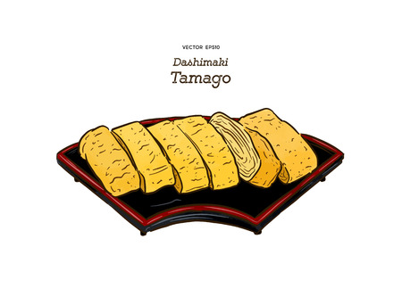 dashimaki tamago, japanese rolled omelette, hand draw sketch vector.